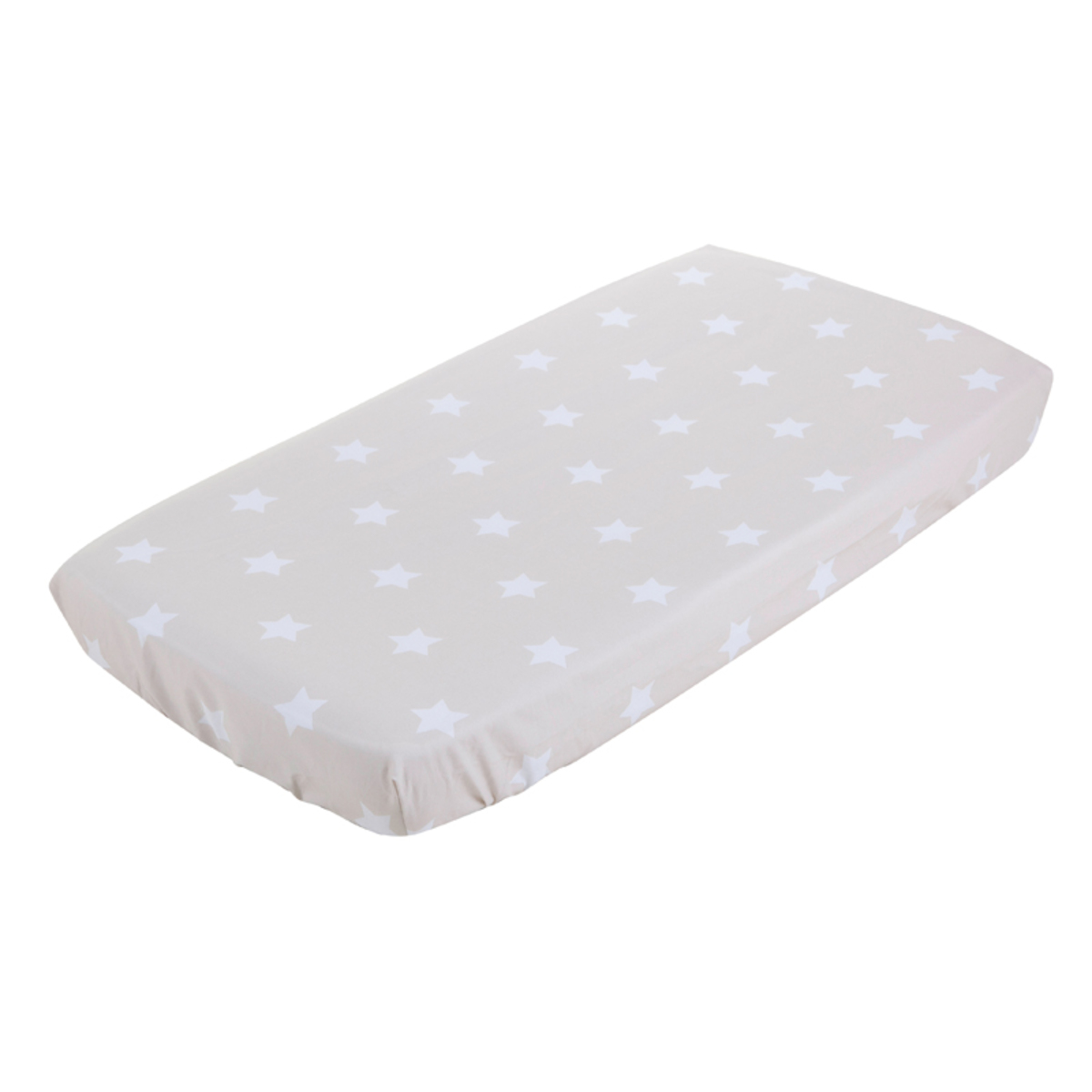 Drap housse berceau 40 x 80 cm beige with white star 1286 for Drap housse berceau