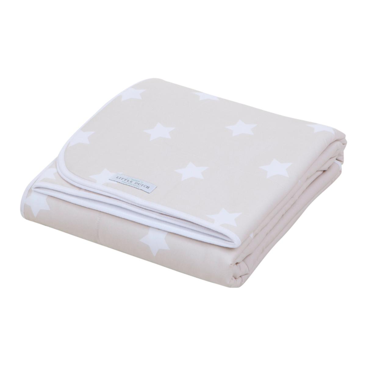 couverture de lit beige with white star 0286 ld achat. Black Bedroom Furniture Sets. Home Design Ideas