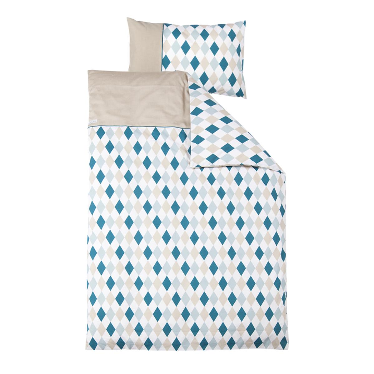 housse de couette junior et taie d 39 oreiller 120 x 150 cm lozenge mint beige 0698 ld achat. Black Bedroom Furniture Sets. Home Design Ideas