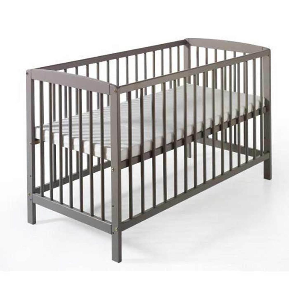 Lit b b felix 60 x120 en pin gris nordique 030141953 - Lit enfant ajustable ...