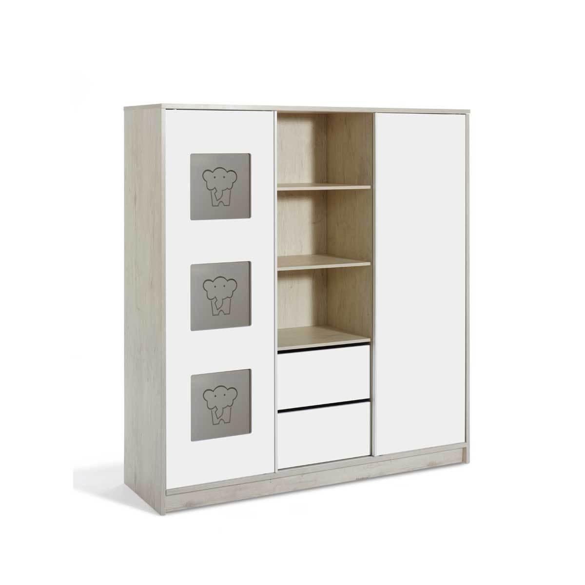 Armoire armoire bb portes eco slide armoire bb portes eco for Armoire grise pas cher