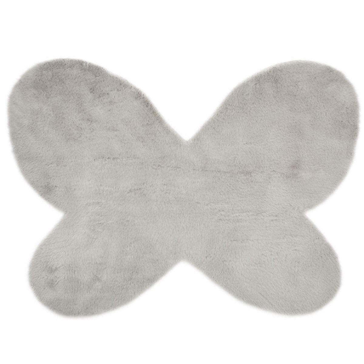 Pilepoil Tapis Papillon en Fausse Fourrure - Gris Clair (140 x 100 ...