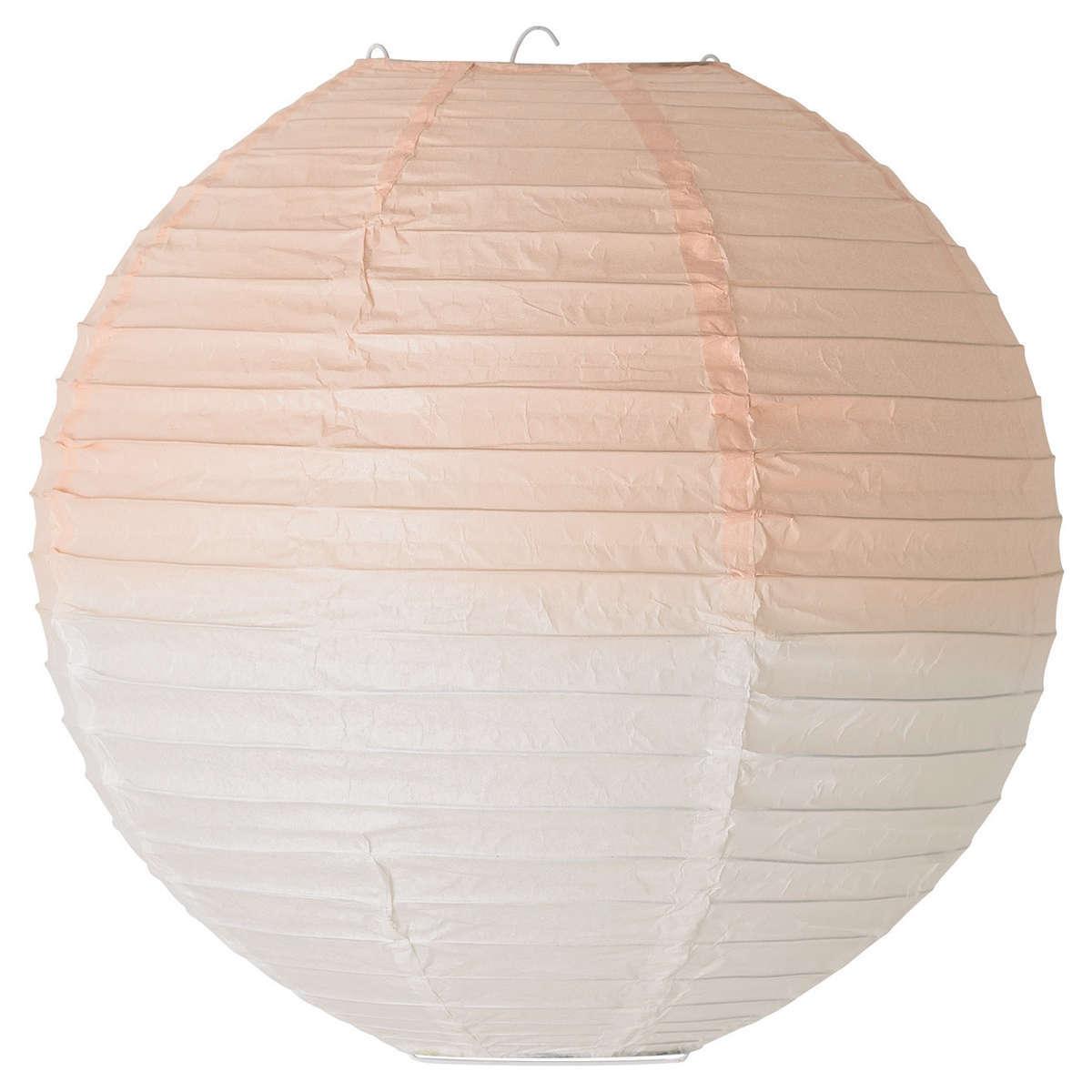 Suspension luminaire en papier 35 cm dip dye blanc for Suspension luminaire papier
