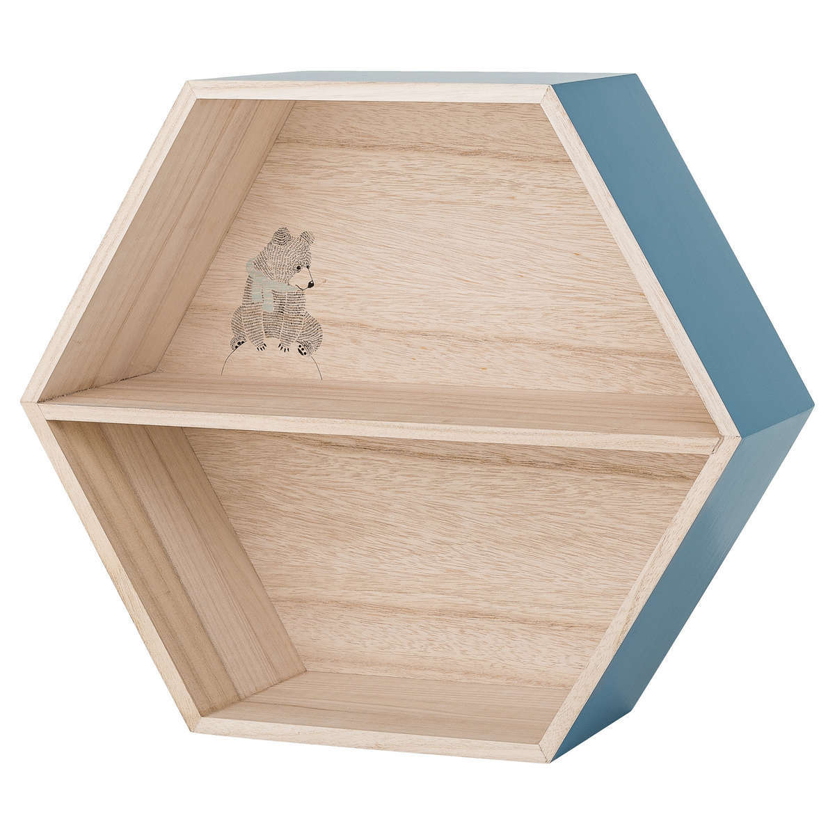 bloomingville etag re hexagonale bois bleu tag re bloomingville sur l 39 armoire de b b. Black Bedroom Furniture Sets. Home Design Ideas