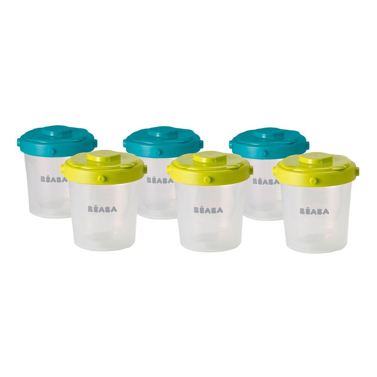 Vaisselle & Couvert Lot de 6 Portions Clip 2ème âge 200 ml - Bleu/Vert Lot de 6 Portions Clip 2ème âge 200 ml - Bleu/Vert