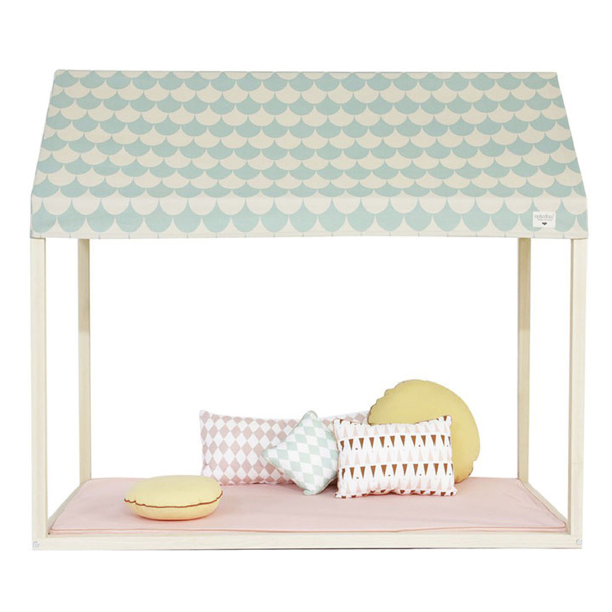 nobodinoz lit maison ibiza losanges roses lit b b. Black Bedroom Furniture Sets. Home Design Ideas