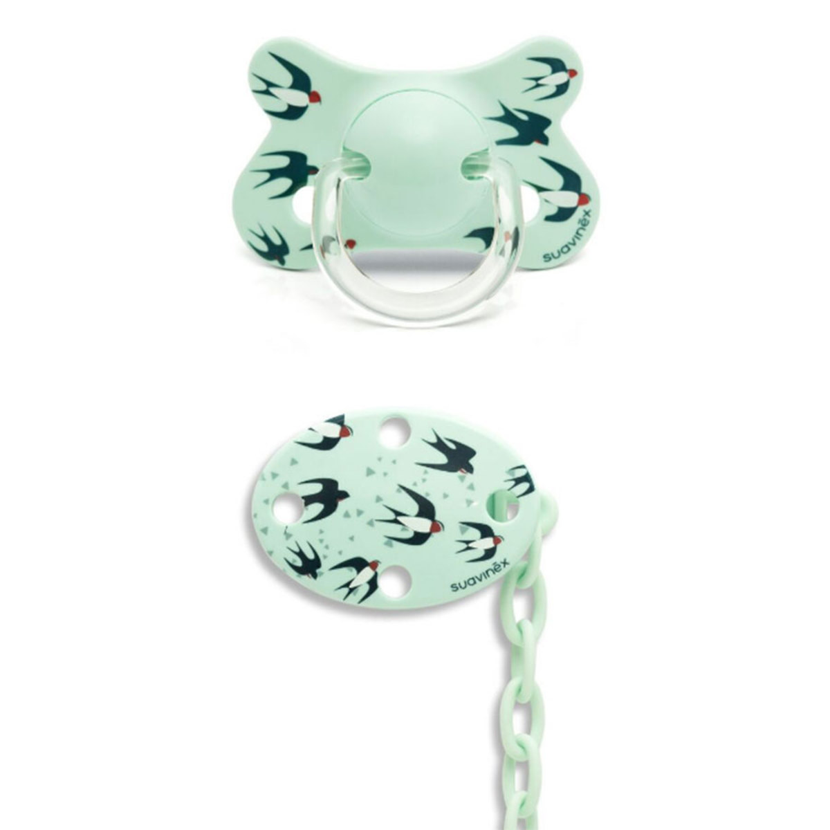 Sucette Sucette Fusion Physio Silicone Hirondelle 4/18 mois et Clip Turquoise Total Look Sucette Fusion Physio Silicone Hirondelle 4/18 mois et Clip Turquoise Total Look