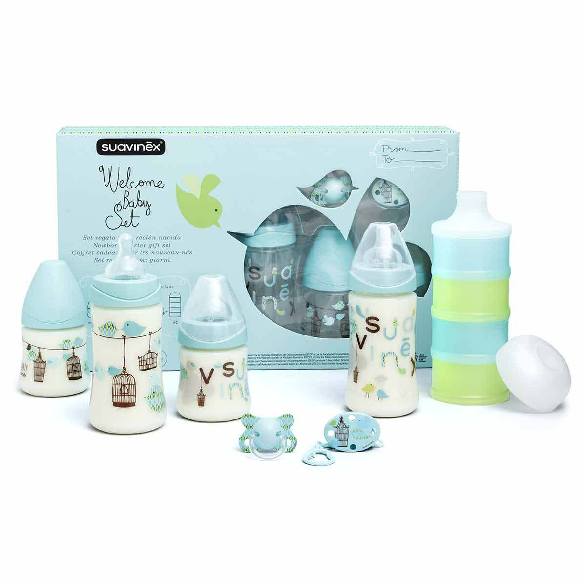 Biberon Pack Welcome Baby Boy Turquoise - 150 ml et 270 ml Pack Welcome Baby Boy Turquoise - 150 ml et 270 ml