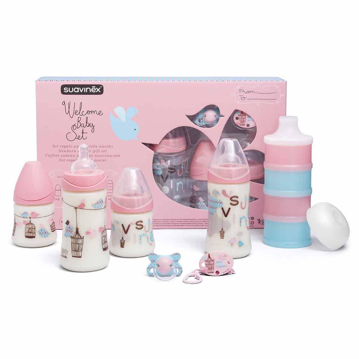 Biberon Pack Welcome Baby Girl Rose - 150 ml et 270 ml Pack Welcome Baby Girl Rose - 150 ml et 270 ml