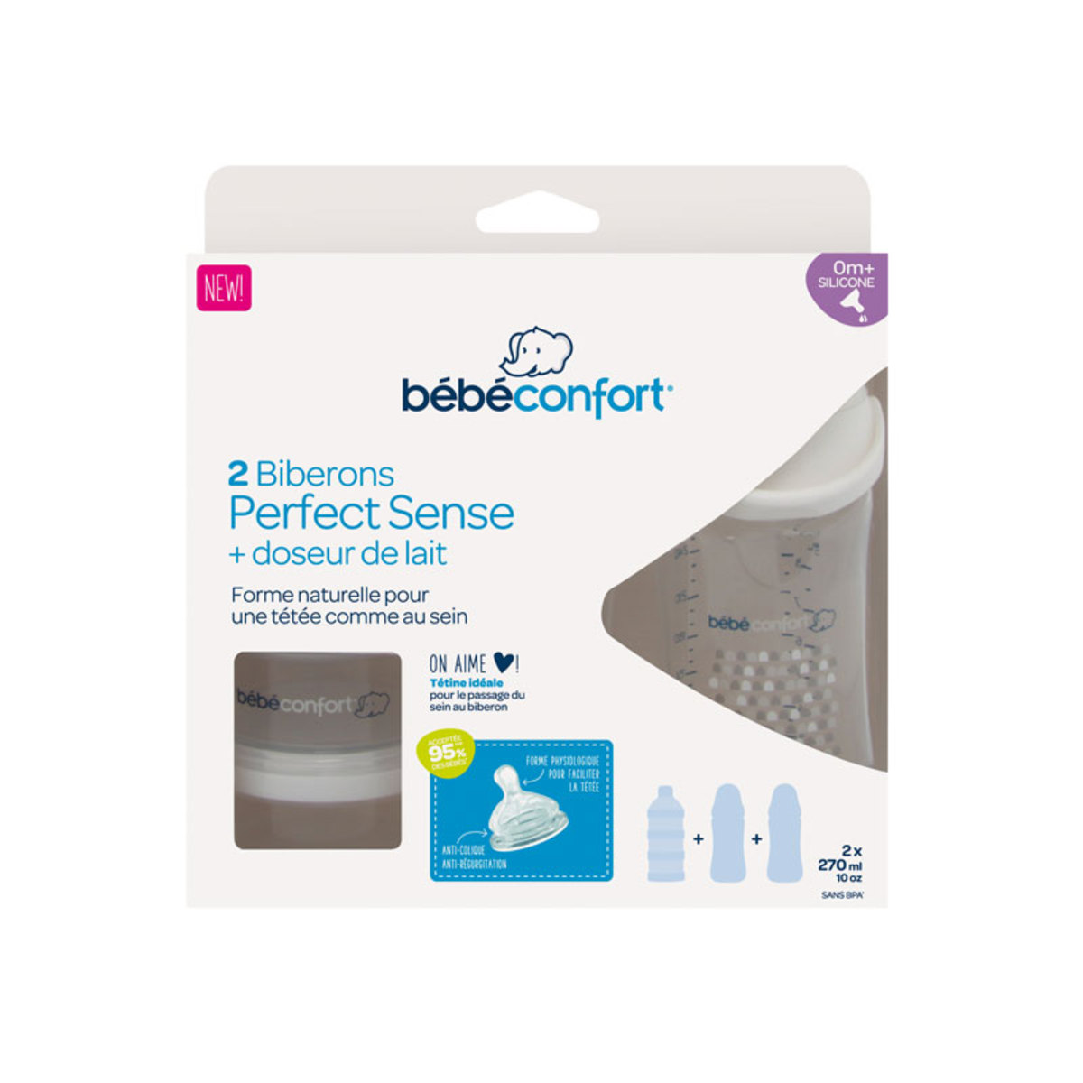 Biberon Lot de 2 Biberons Perfect Sense 270 ml Little Valleys Blanc + Doseur de lait Lot de 2 Biberons Perfect Sense 270 ml Little Valleys Blanc + Doseur de lait