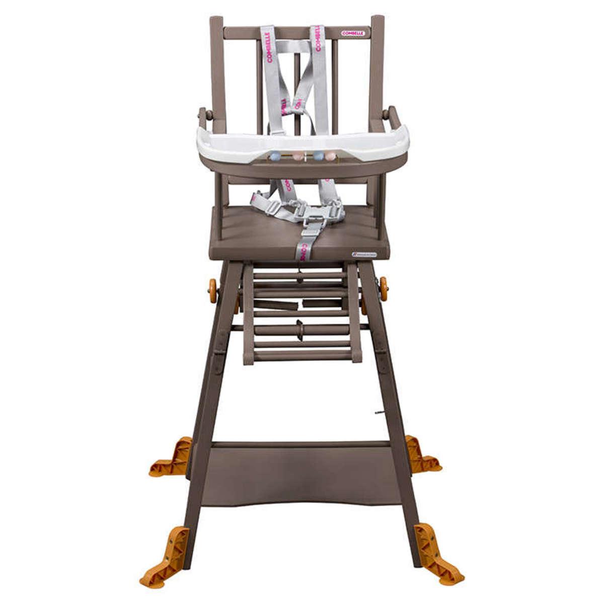 combelle chaise haute barreaux transformable marcel laqu taupe chaise haute combelle sur. Black Bedroom Furniture Sets. Home Design Ideas