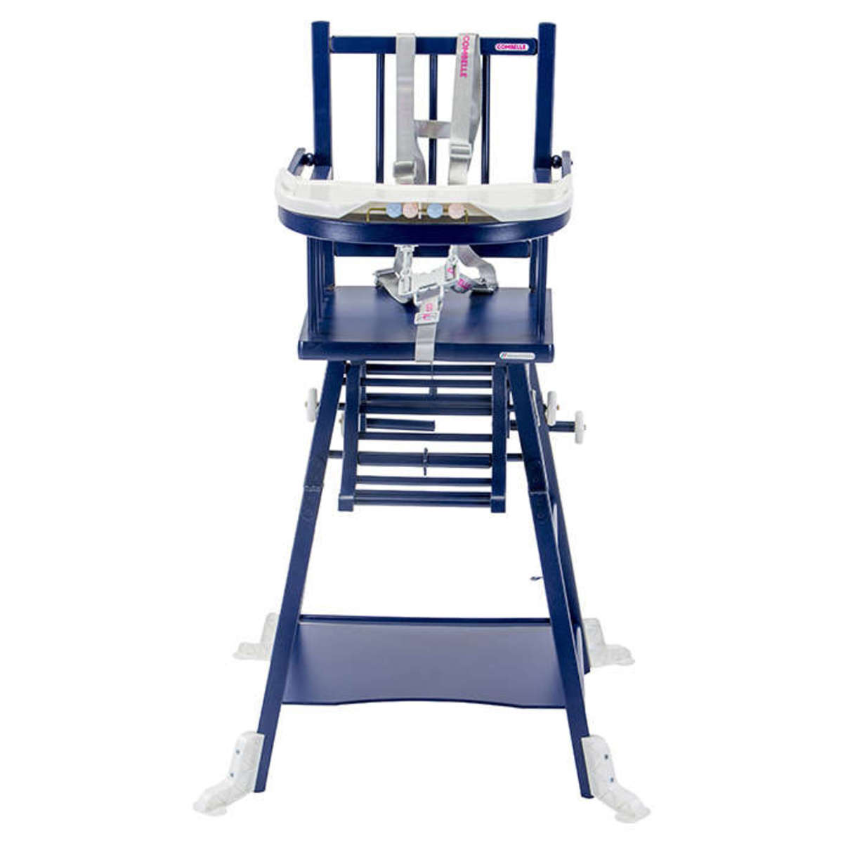 combelle chaise haute barreaux transformable marcel laqu bleu chaise haute combelle sur l. Black Bedroom Furniture Sets. Home Design Ideas