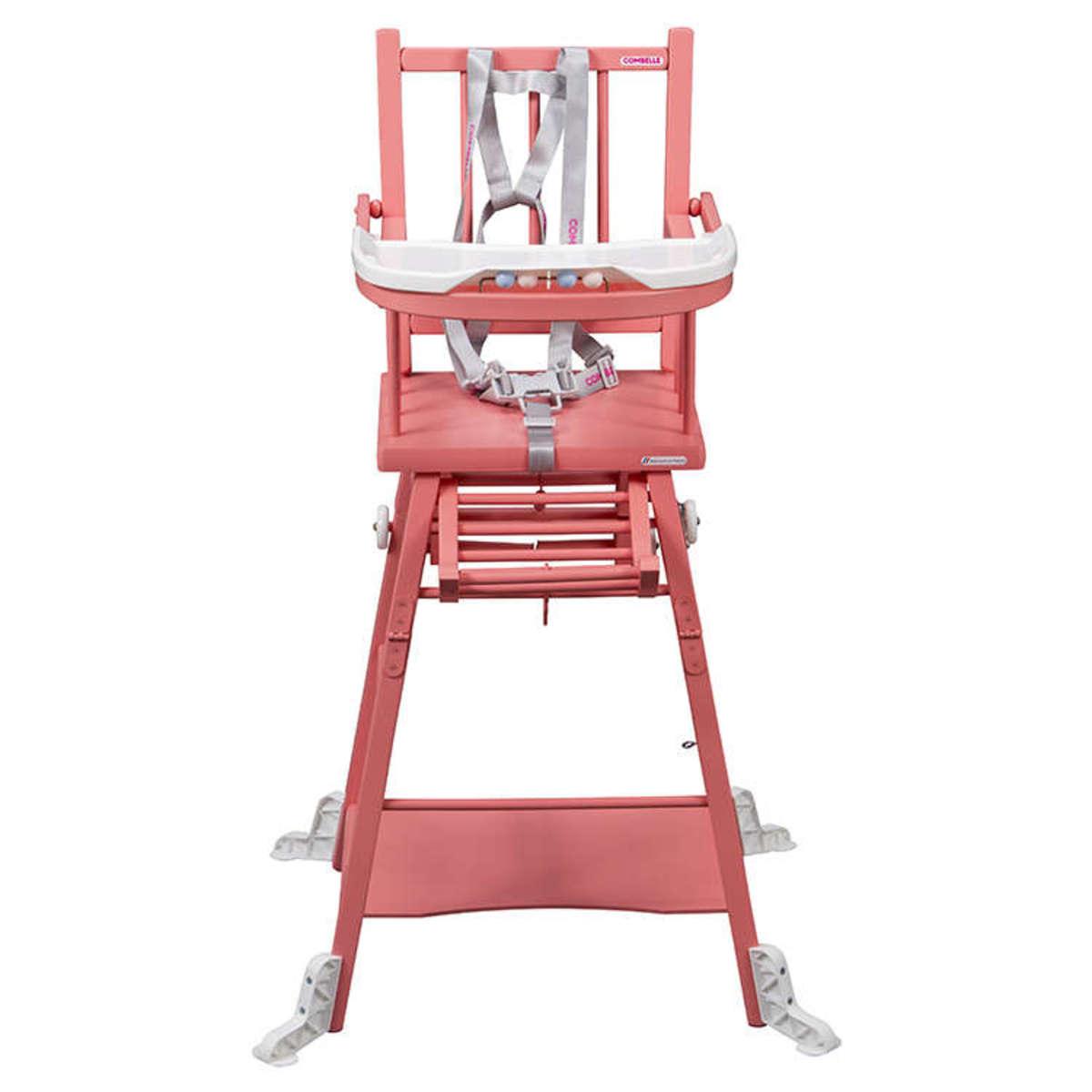 Combelle Chaise Haute à Barreaux Transformable Marcel - Laqué rose ...