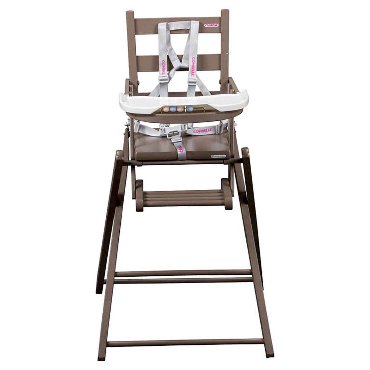 Combelle chaise haute extra pliante sarah laqu taupe for Chaise haute combelle extra pliante