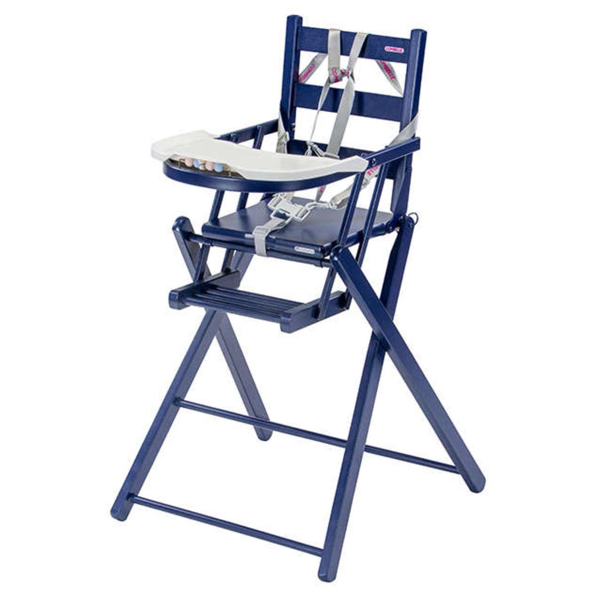 Combelle chaise haute extra pliante sarah laqu bleu for Chaise haute combelle extra pliante