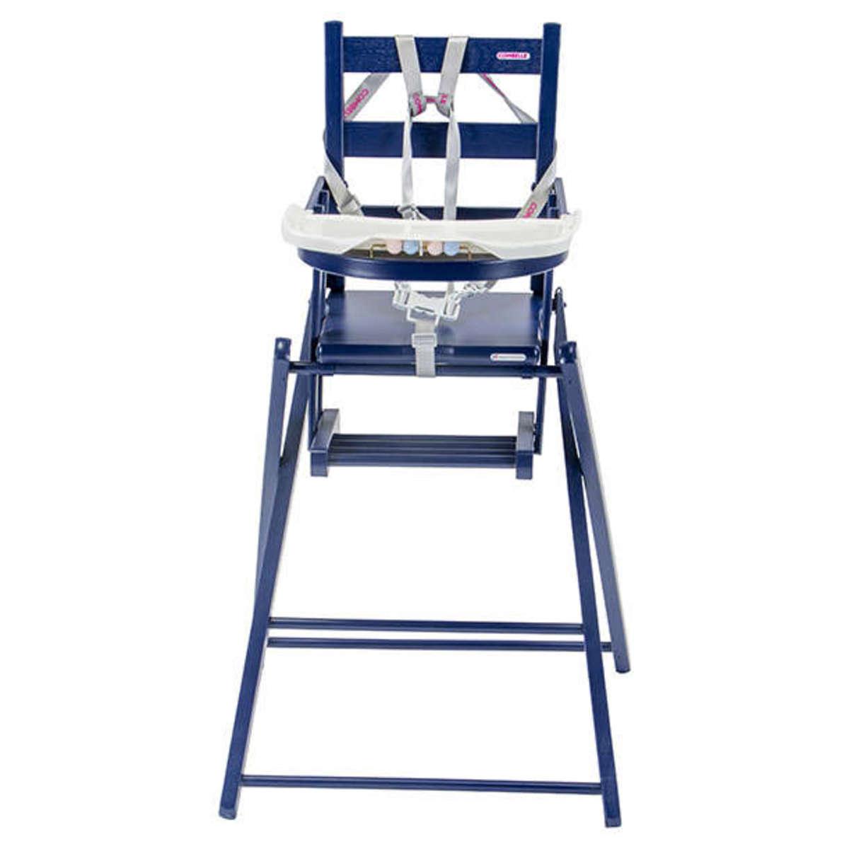 combelle chaise haute extra pliante sarah laqu bleu chaise haute combelle sur l 39 armoire de b b. Black Bedroom Furniture Sets. Home Design Ideas