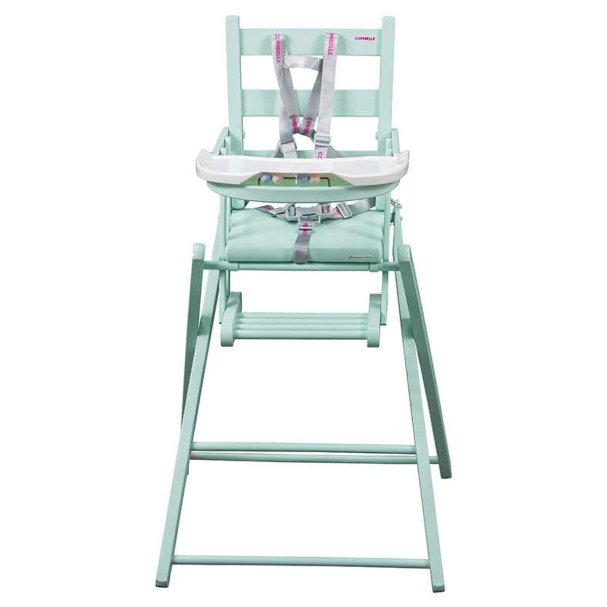 combelle chaise haute extra pliante sarah laqu vert mint chaise haute combelle sur l. Black Bedroom Furniture Sets. Home Design Ideas