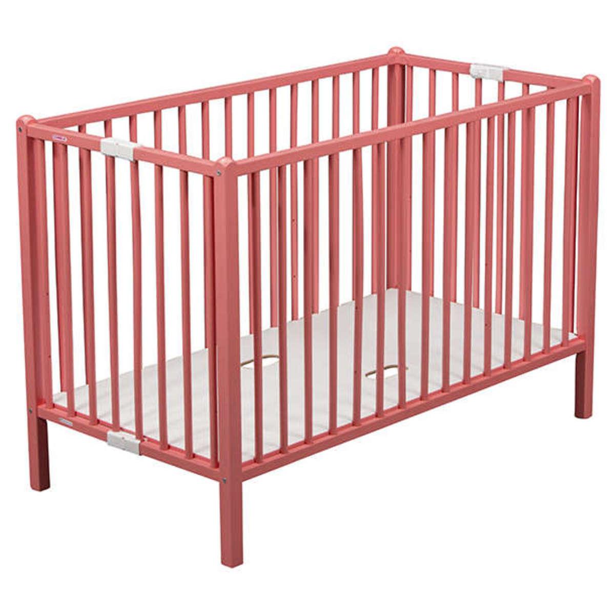 combelle lit b b pliant rom o 60 x 120 cm laqu rose lit b b combelle sur l 39 armoire de b b. Black Bedroom Furniture Sets. Home Design Ideas