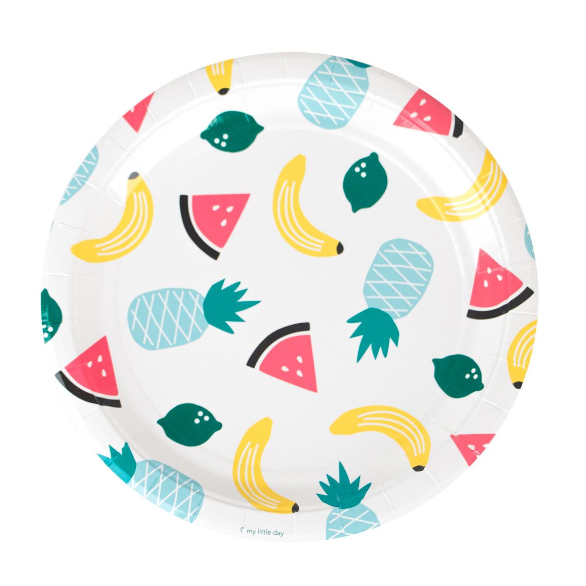 Anniversaire & Fête Assiettes - Fruits Exotiques (x8) Assiettes - Fruits Exotiques (x8)