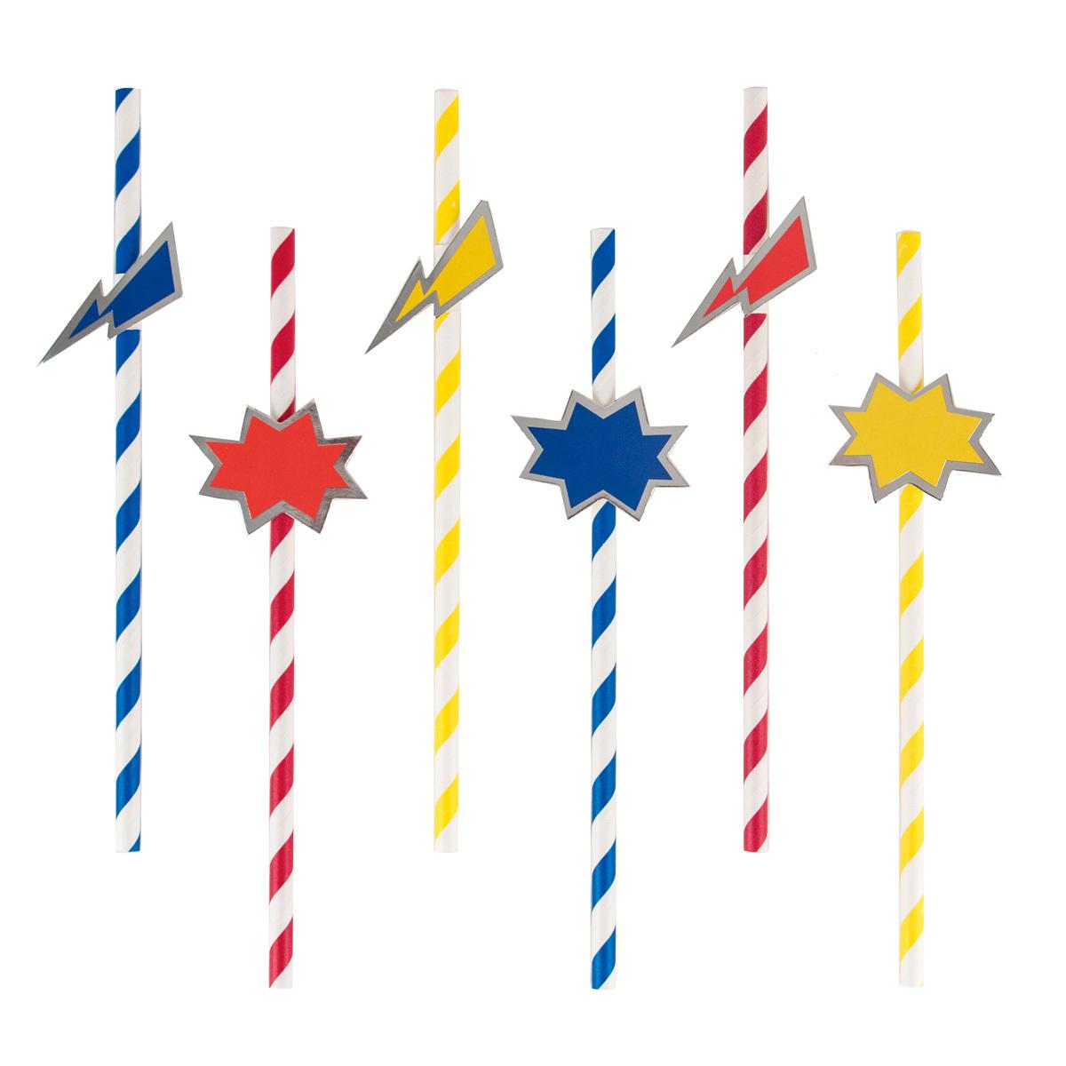 Anniversaire & Fête Pailles - Super-Héros (x 12) Pailles - Super-Héros (x 12)