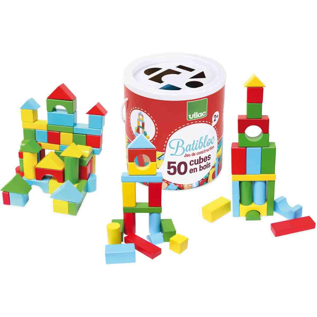 Mes premiers jouets Batibloc 50 Cubes en Bois Batibloc 50 Cubes en Bois