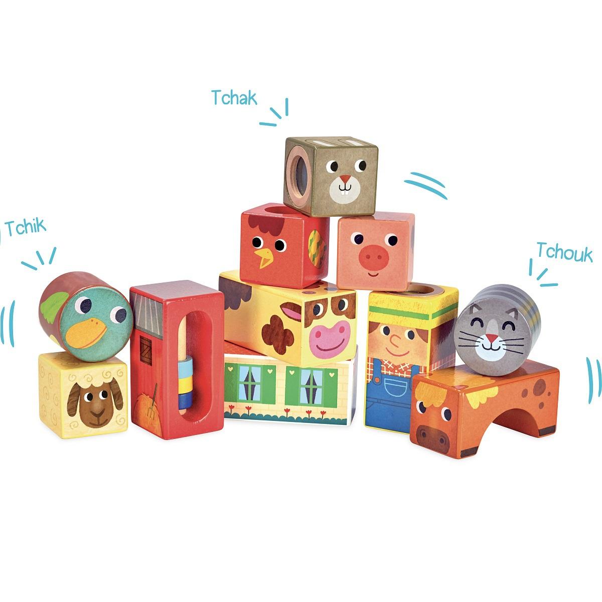 Mes premiers jouets Cubes sonores Animaux de la Ferme