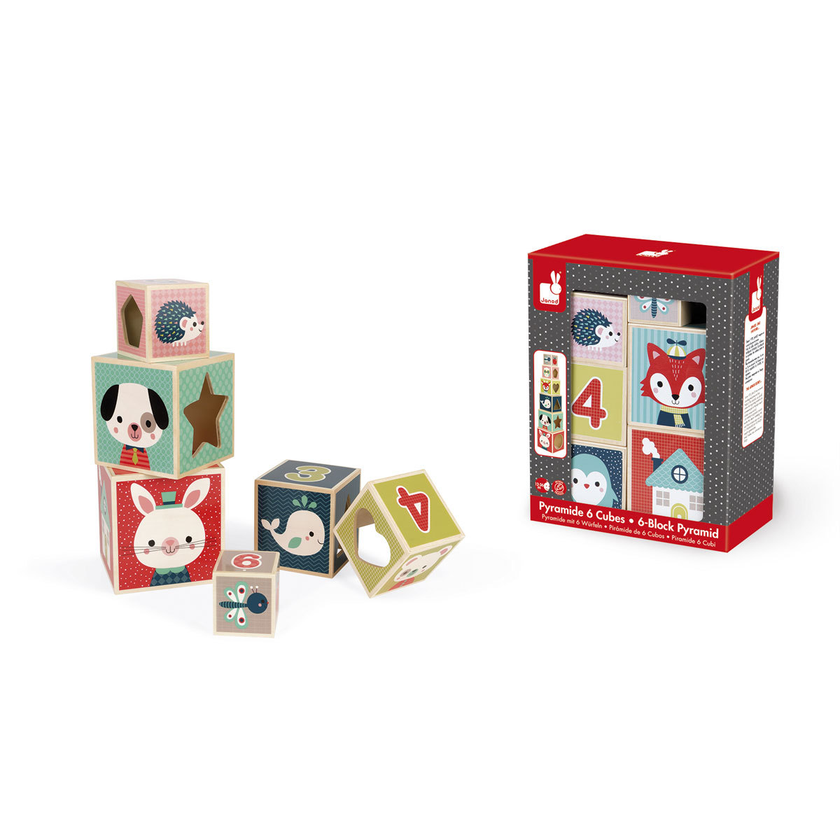 Mes premiers jouets Pyramide 6 Cubes - Baby Forest Pyramide 6 Cubes - Baby Forest