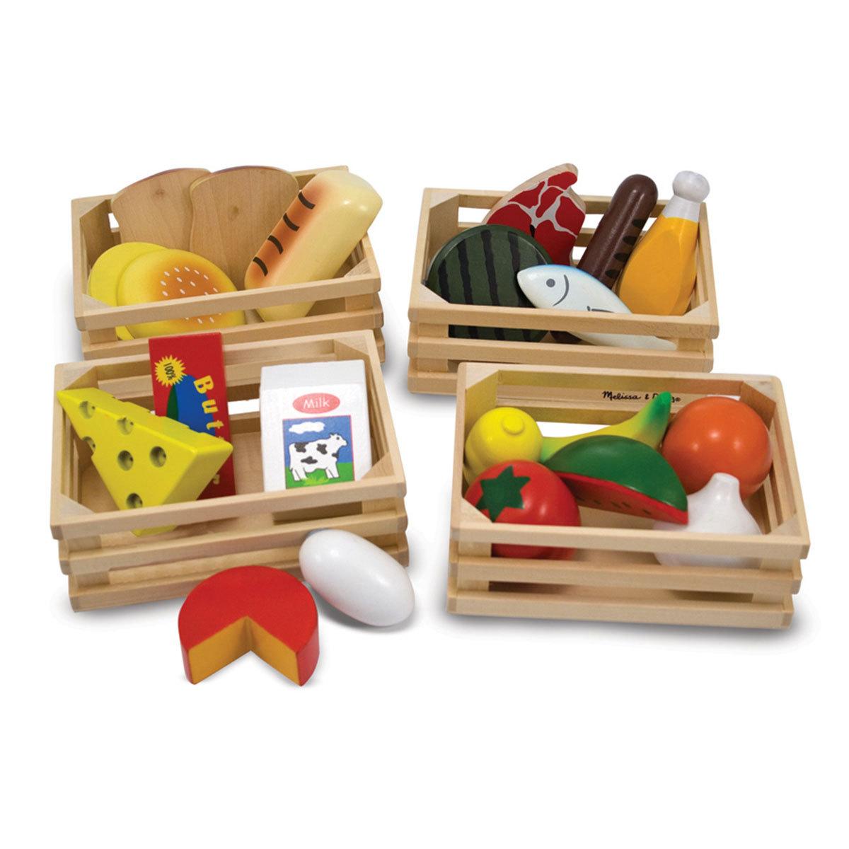 melissa doug caisses d 39 aliments en bois mes premiers jouets melissa doug sur l 39 armoire de b b. Black Bedroom Furniture Sets. Home Design Ideas