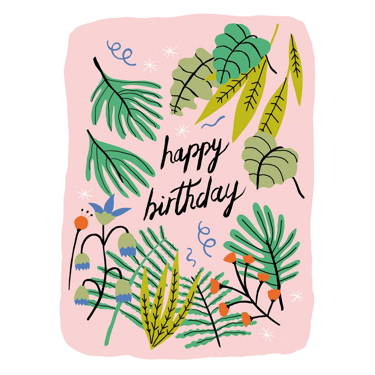 """Carte Double & Enveloppe Tropical """"Happy Birthday"""" (1996"""