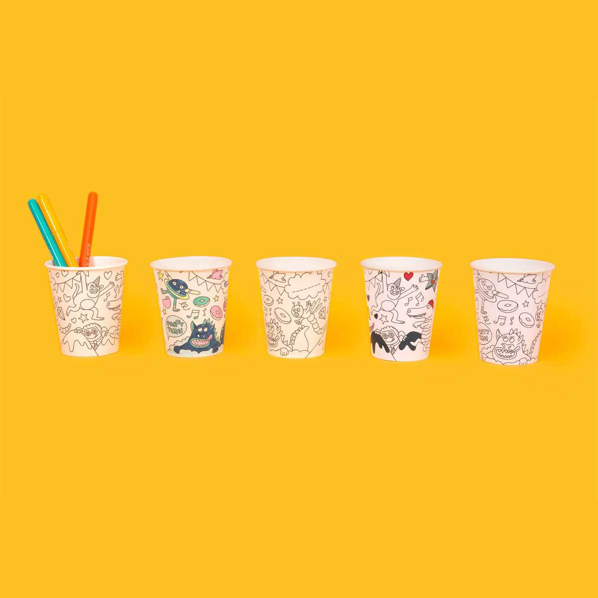 Anniversaire & Fête Lot de 8 Gobelets en carton à colorier Lot de 8 Gobelets en carton à colorier
