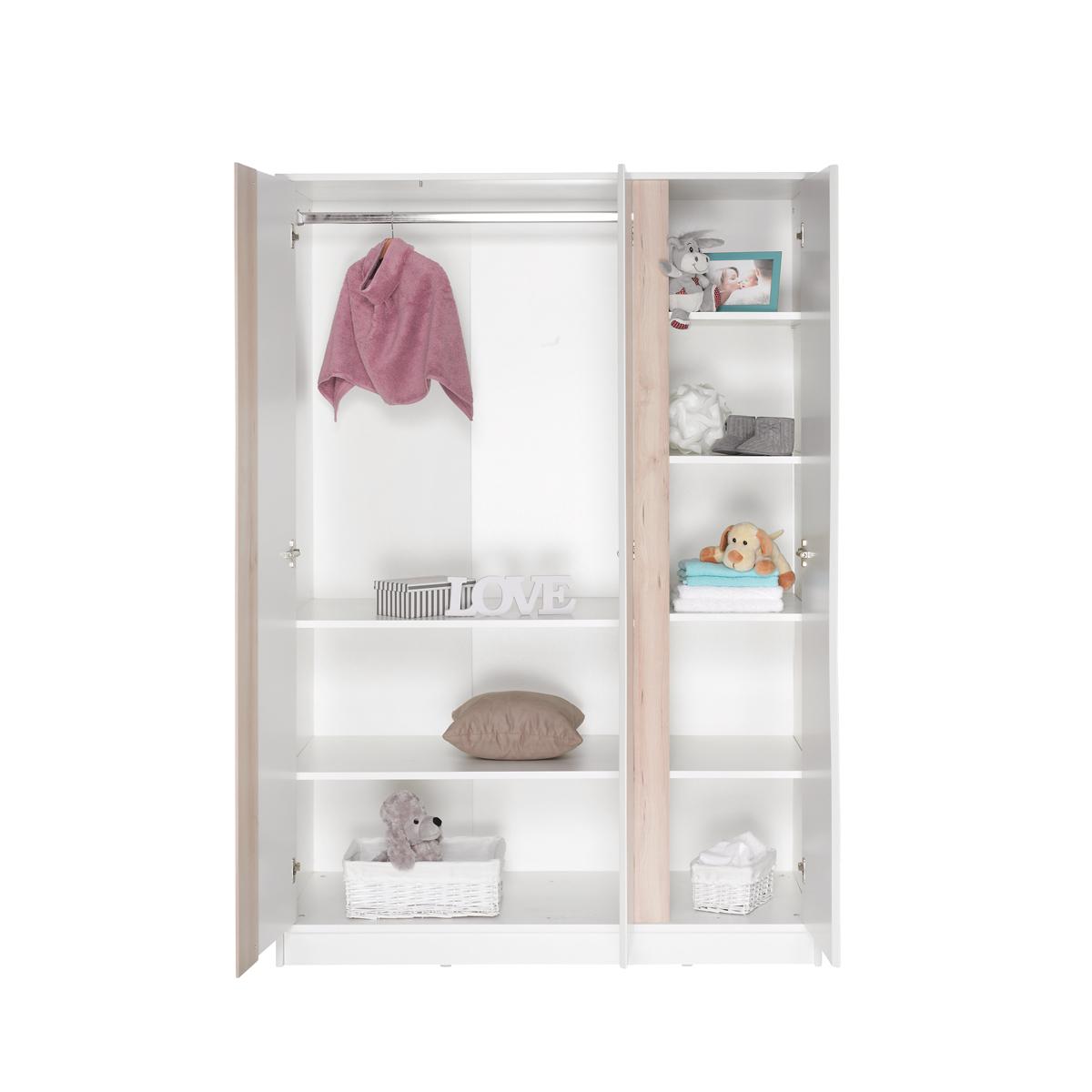 Geuther armoire 3 portes collection wave blanc naturel - L armoire de bebe ...