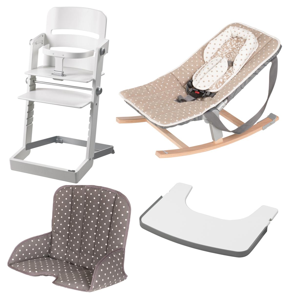 geuther pack chaise haute tamino transat rocco tablette coussin de chaise blanc. Black Bedroom Furniture Sets. Home Design Ideas
