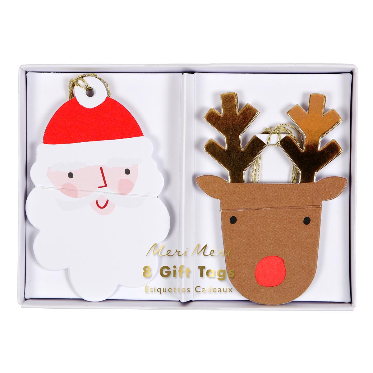 Anniversaire & Fête Lot de 8 Étiquettes Cadeaux Père-Noël et Rennes Lot de 8 Étiquettes Cadeaux Père-Noël et Rennes