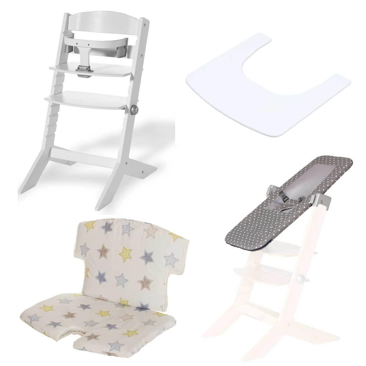 geuther pack chaise haute syt transat sit 39 n 39 sleep tablette coussin de chaise etoiles blanc. Black Bedroom Furniture Sets. Home Design Ideas