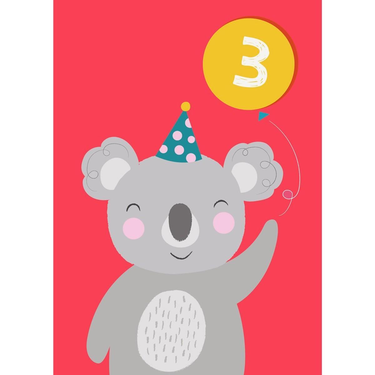 Anniversaire & Fête Carte Troisième Anniversaire Koala Carte Troisième Anniversaire Koala