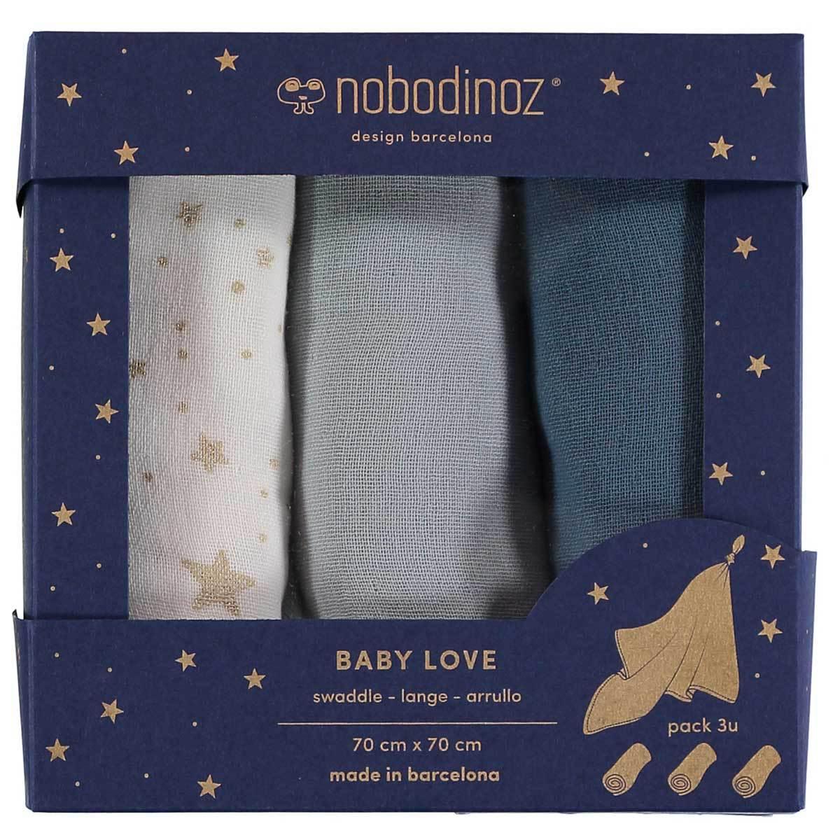 Lange Lot de 3 Langes Baby Love - Night Blue Lot de 3 Langes Baby Love - Night Blue