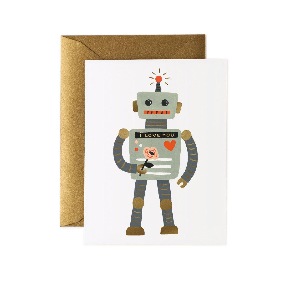 """Anniversaire & Fête Carte Double & Enveloppe """"Love Robot"""" Carte Double & Enveloppe """"Love Robot"""""""