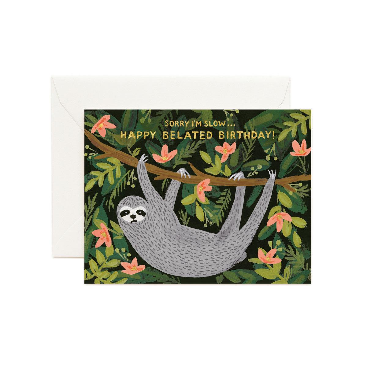 "Anniversaire & Fête Carte Double & Enveloppe ""Sloth Belated Birthday"" Carte Double & Enveloppe ""Sloth Belated Birthday"""