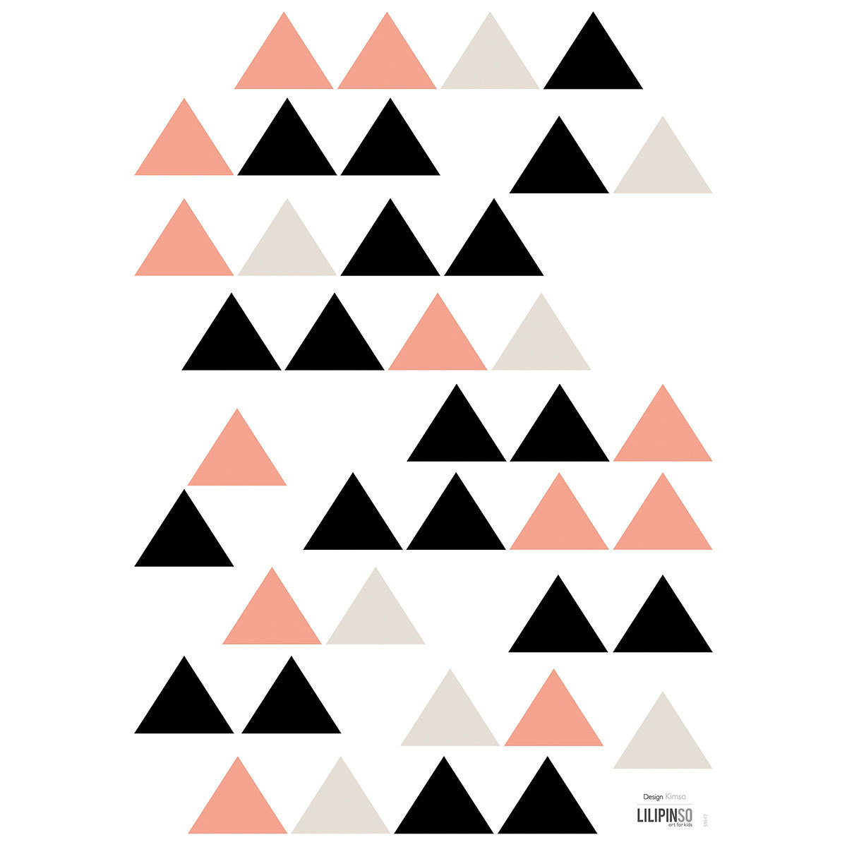 Sticker Origami Play - Stickers A3 - Triangles Noir & Corail Origami Play - Stickers A3 - Triangles Noir & Corail
