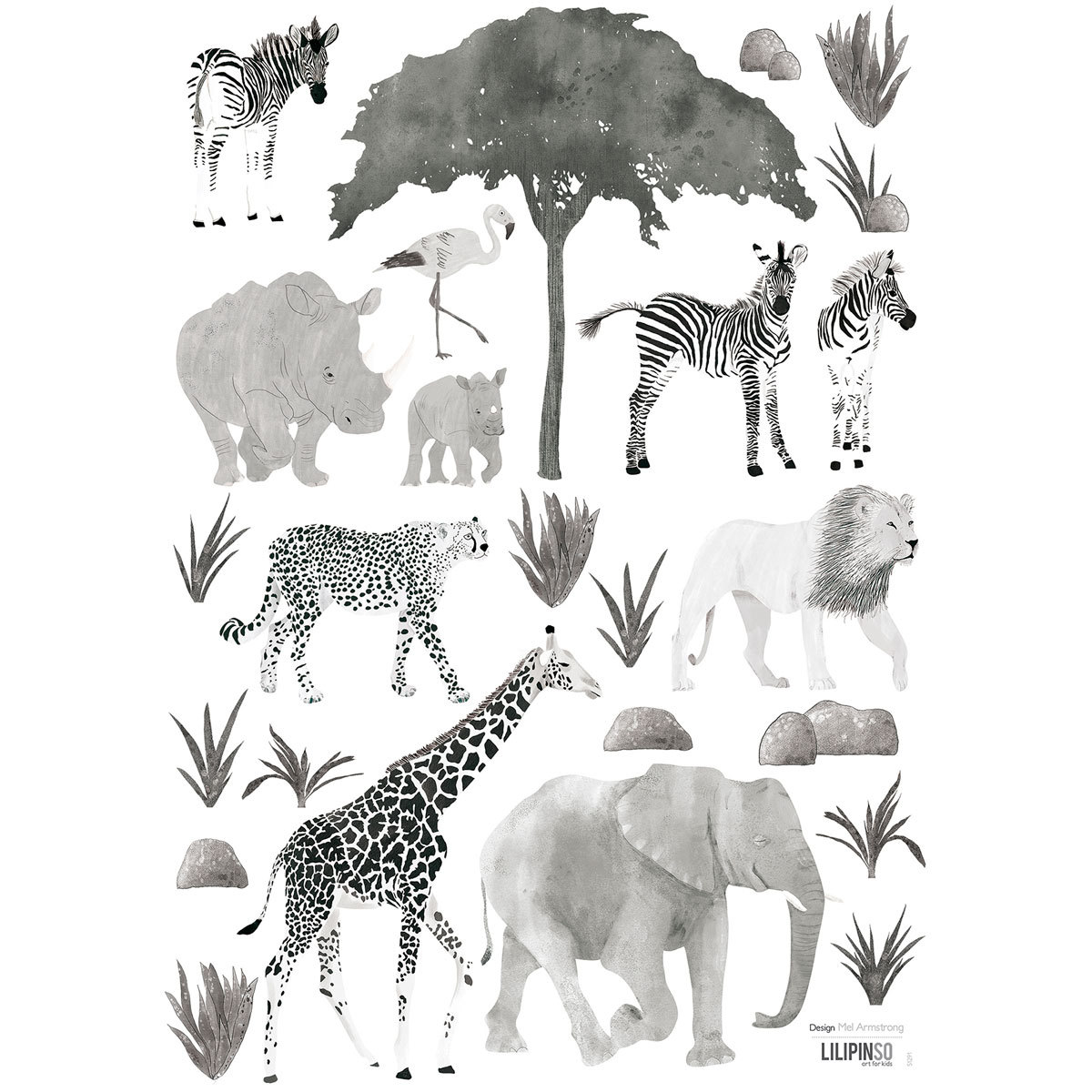 Sticker Serengeti - Stickers A3 - Planche Composée d'Animaux