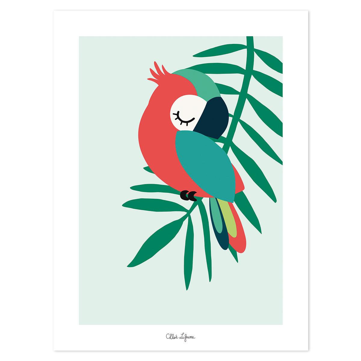 Affiche & poster Tropica - Affiche Perroquet Vert Tropica - Affiche Perroquet Vert