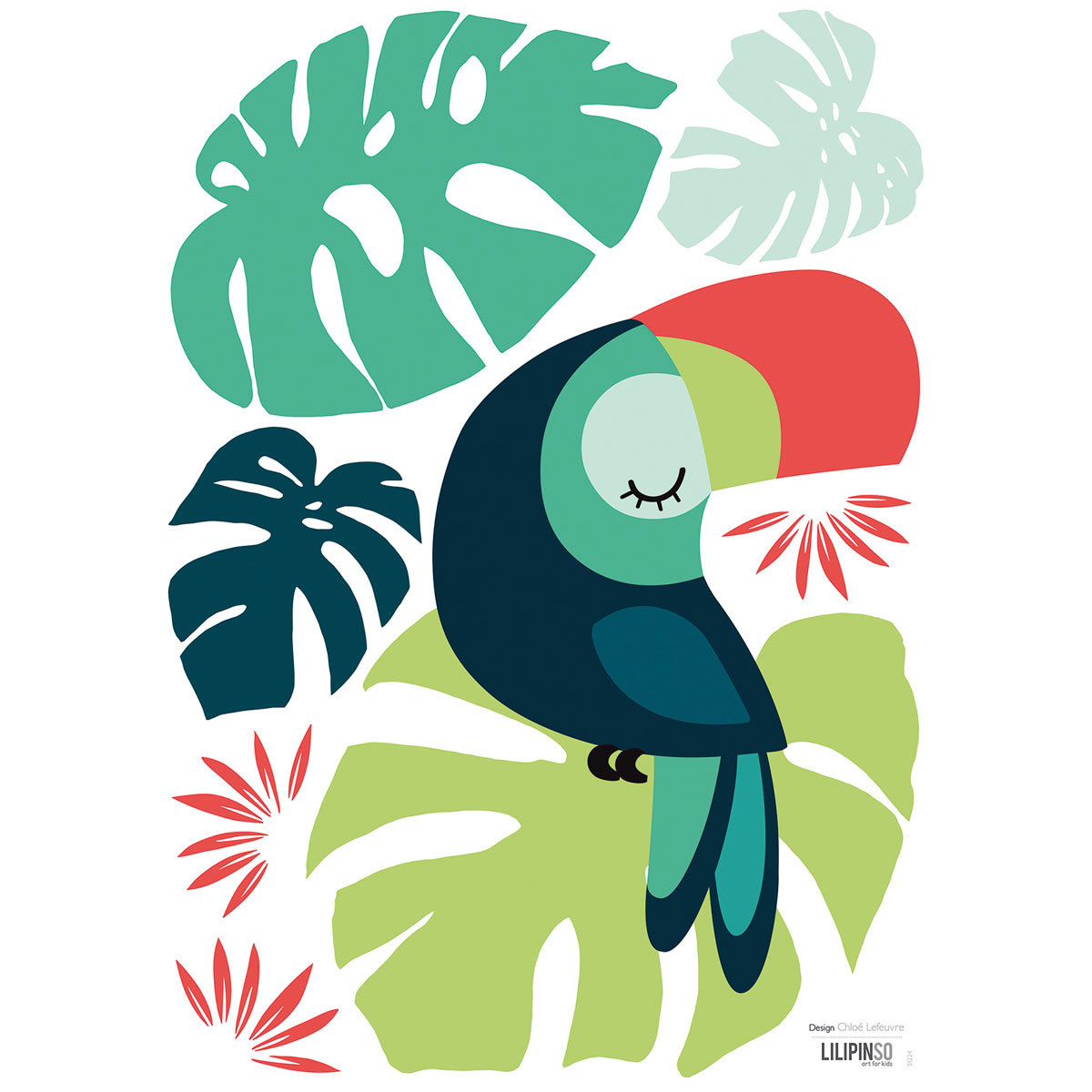 Sticker Tropica - Stickers A3 - Monstera et Toucan Tropica - Stickers A3 - Monstera et Toucan