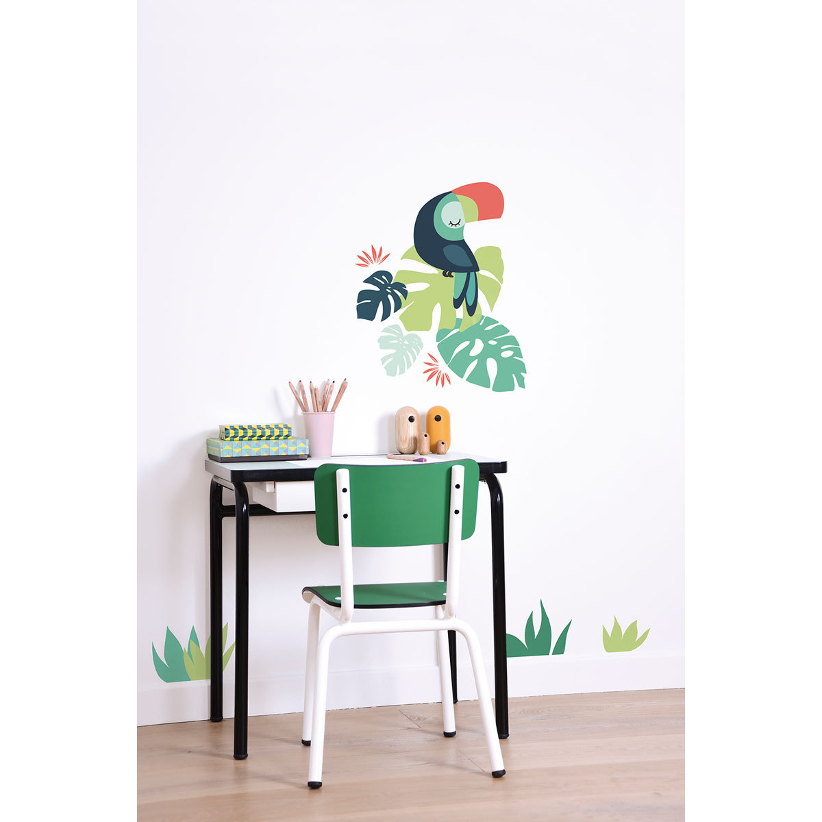 lilipinso tropica stickers a3 monstera et toucan. Black Bedroom Furniture Sets. Home Design Ideas