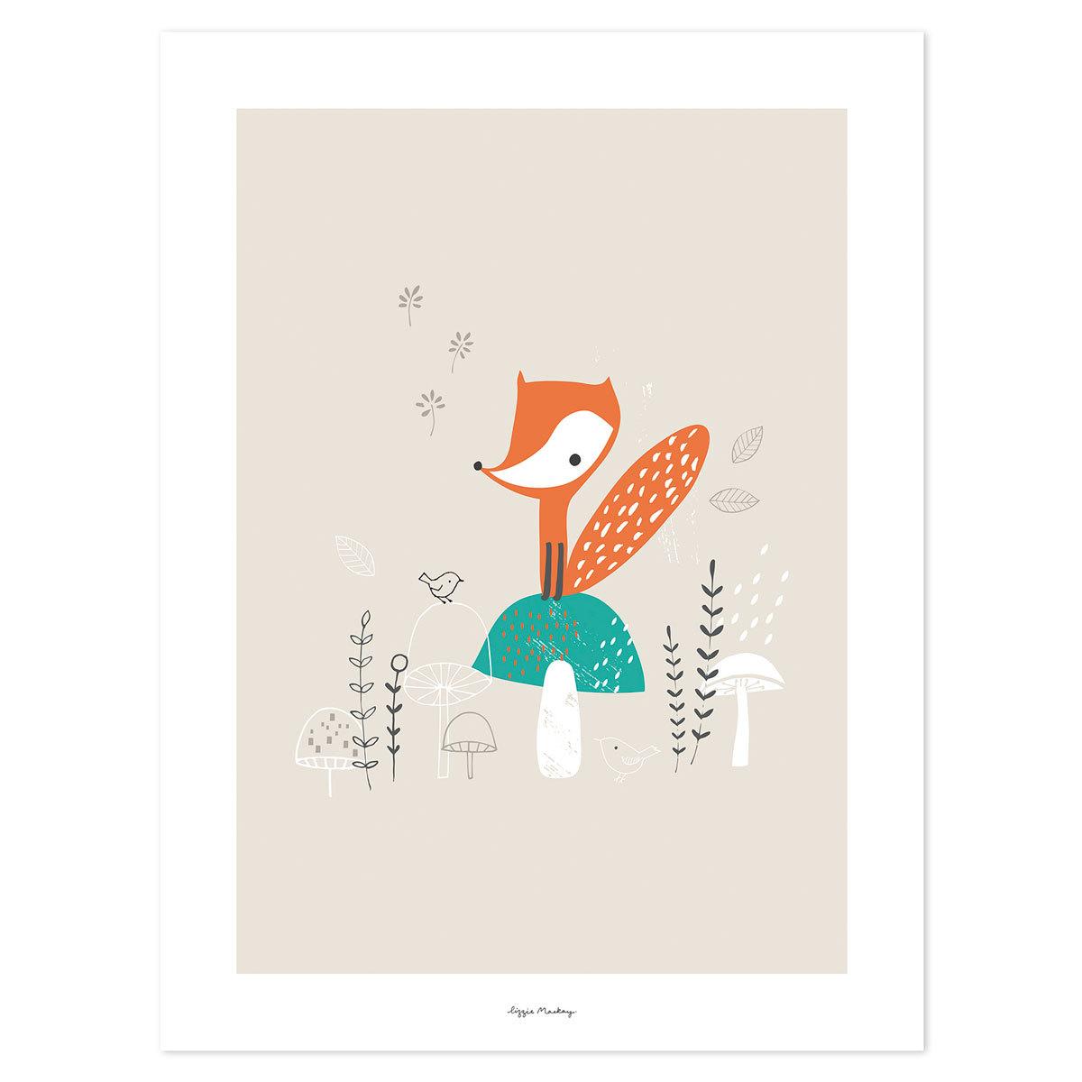 Affiche & poster Woodland - Affiche Renard & Champignons Woodland - Affiche Renard & Champignons