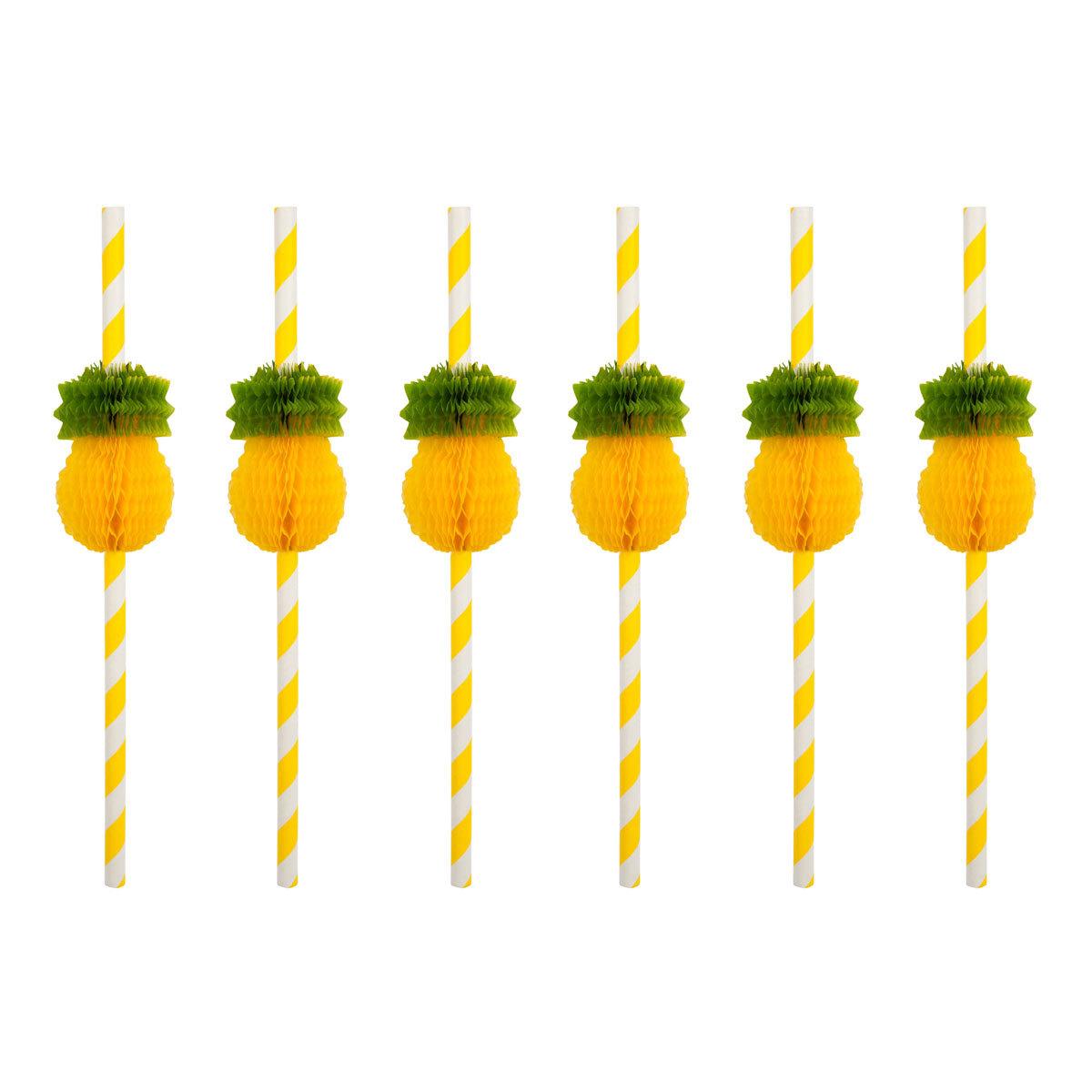 Anniversaire & Fête Lot de 12 pailles Ananas Lot de 12 pailles Ananas