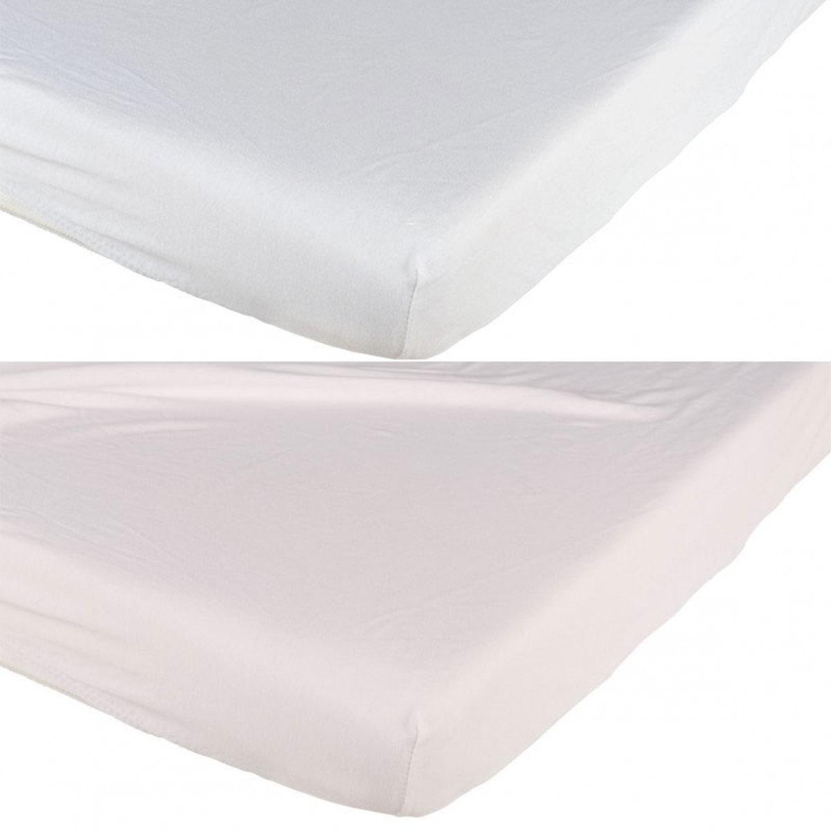 Linge de lit Lot de 2 Draps Housses Blanc et Rose - 70 x 140 cm Lot de 2 Draps Housses Blanc et Rose - 70 x 140 cm