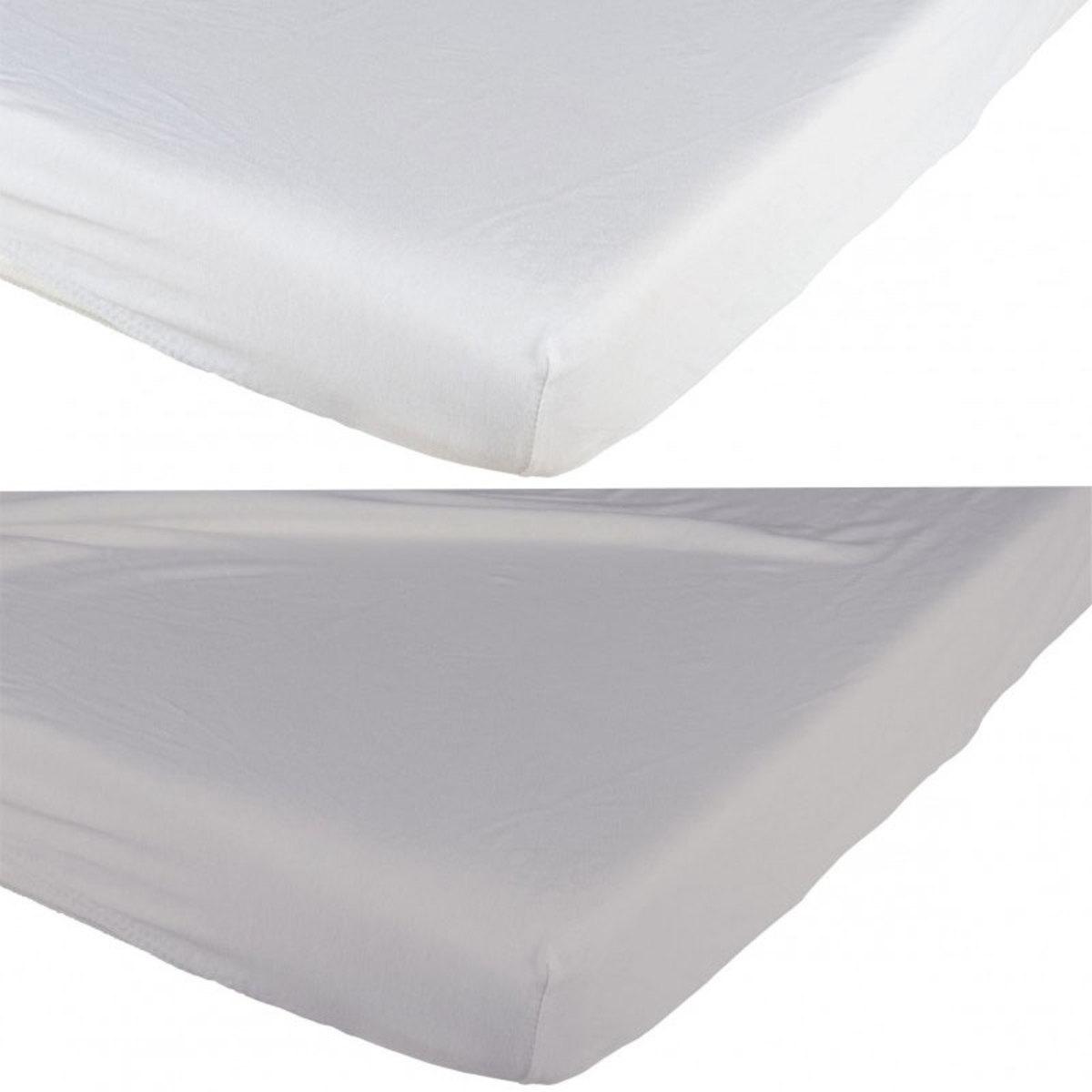 Linge de lit Lot de 2 Draps Housses Blanc et Gris - 70 x 140 cm Lot de 2 Draps Housses Blanc et Gris - 70 x 140 cm