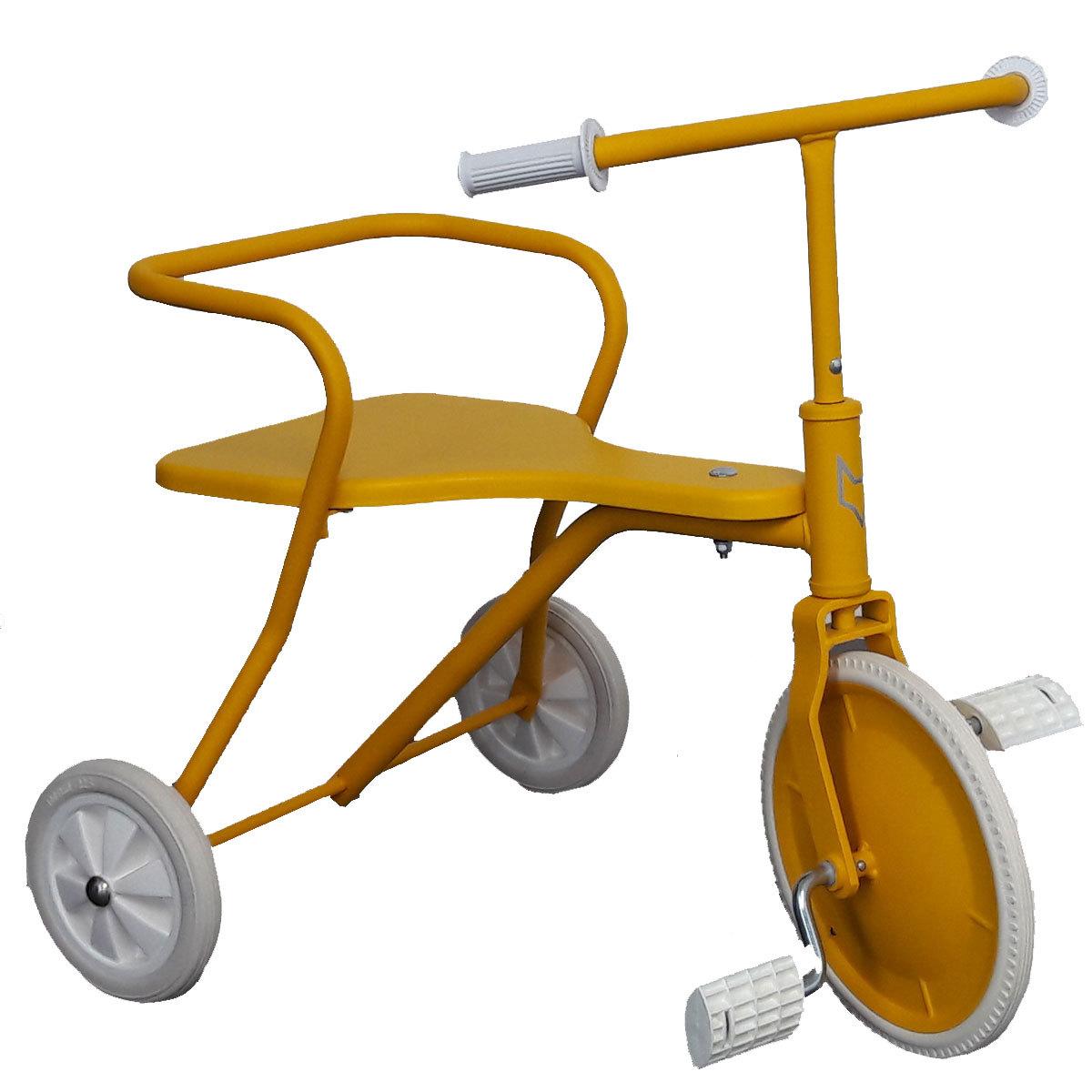 fox rider tricycle en m tal jaune trotteur porteur. Black Bedroom Furniture Sets. Home Design Ideas