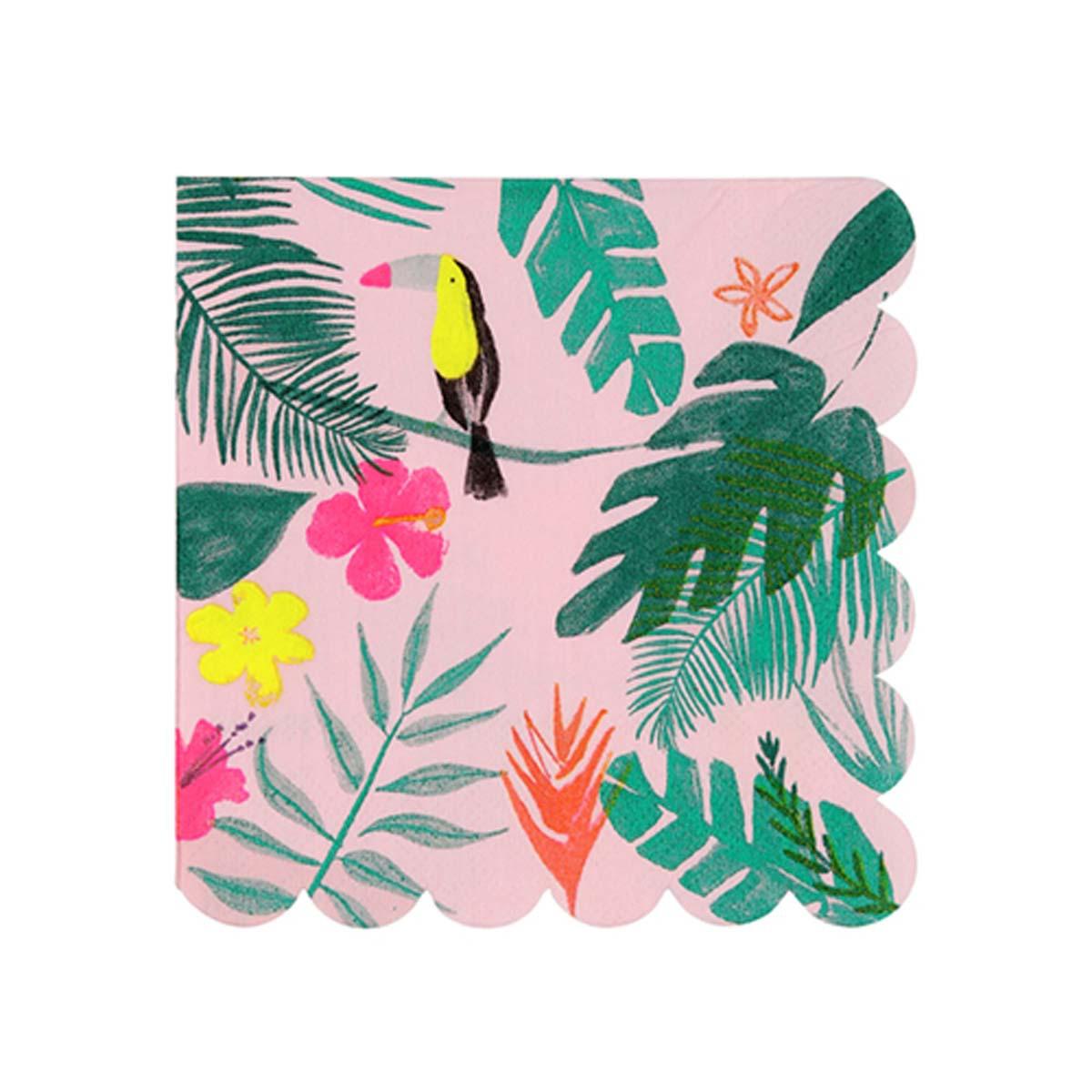 Anniversaire & Fête Petites Serviettes Tropicales - Rose Petites Serviettes Tropicales - Rose