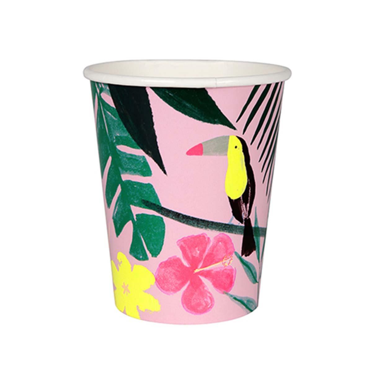 Anniversaire & Fête Lot de 12 Gobelets Tropical - Rose Lot de 12 Gobelets Tropical - Rose